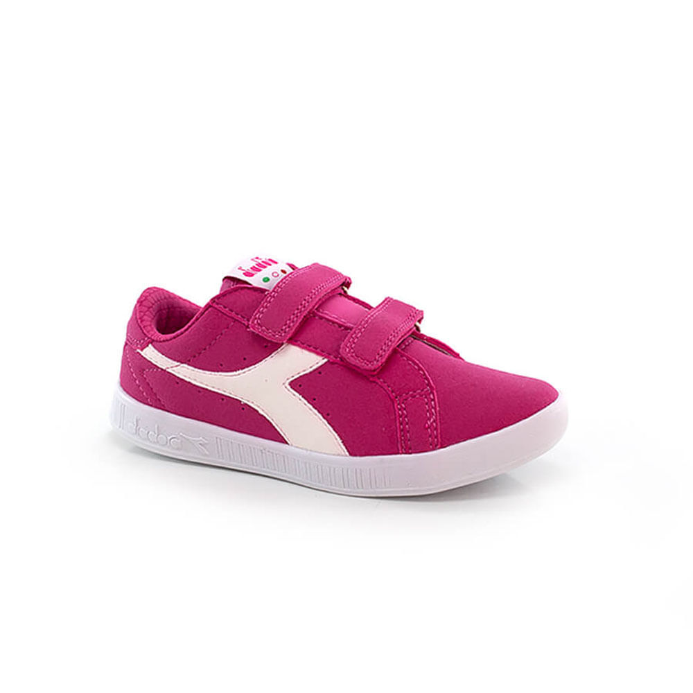 019060282-Tenis-Diadora-Game-II-Jr-Infantil-Rosa-Pink-Velcro