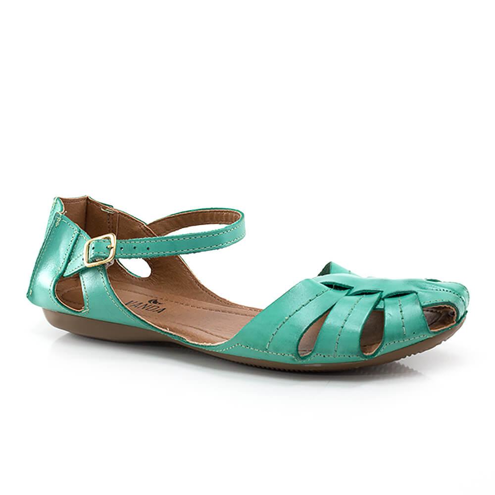 4c9e2481bd Sandália Rasteira Couro com Fivela - Vanda Calçados - Vanda Calçados