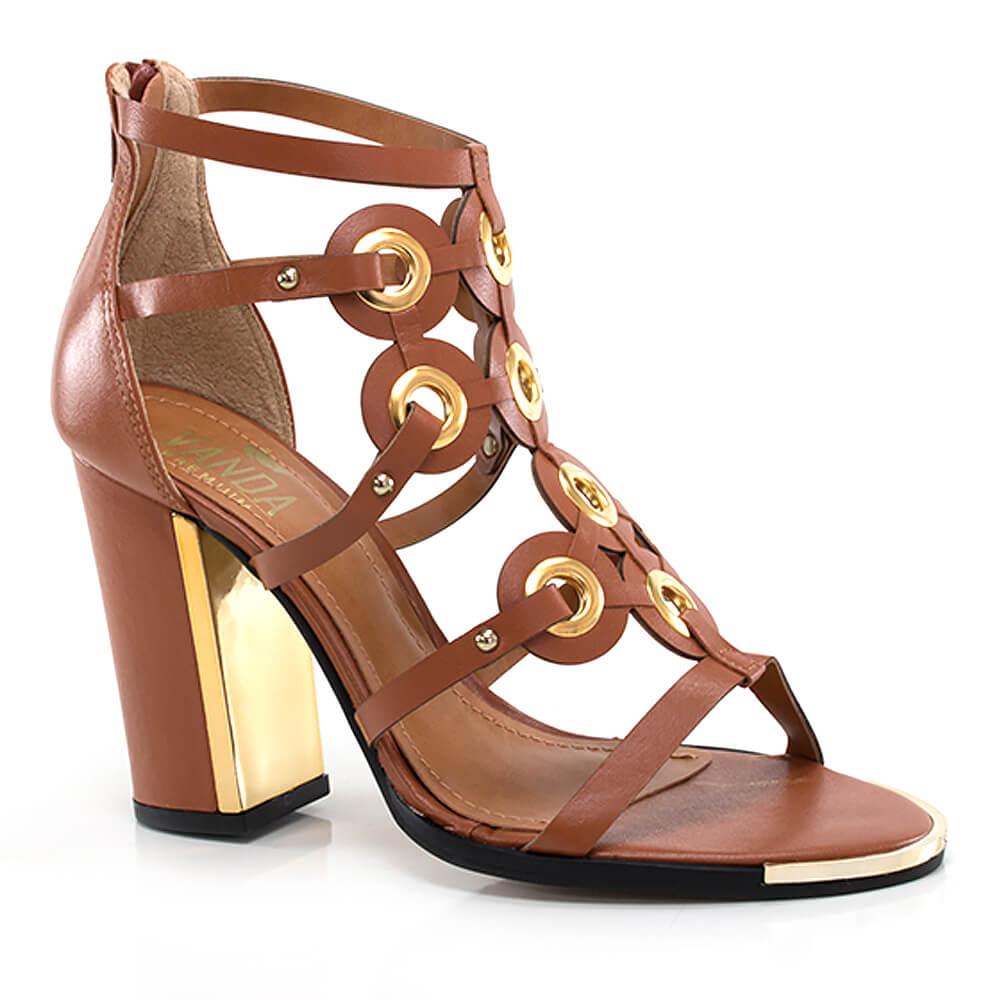 522fbc4e5 Sandália Gladiadora com Ilhoses Dourados - Vanda Calçados - Vanda Calçados