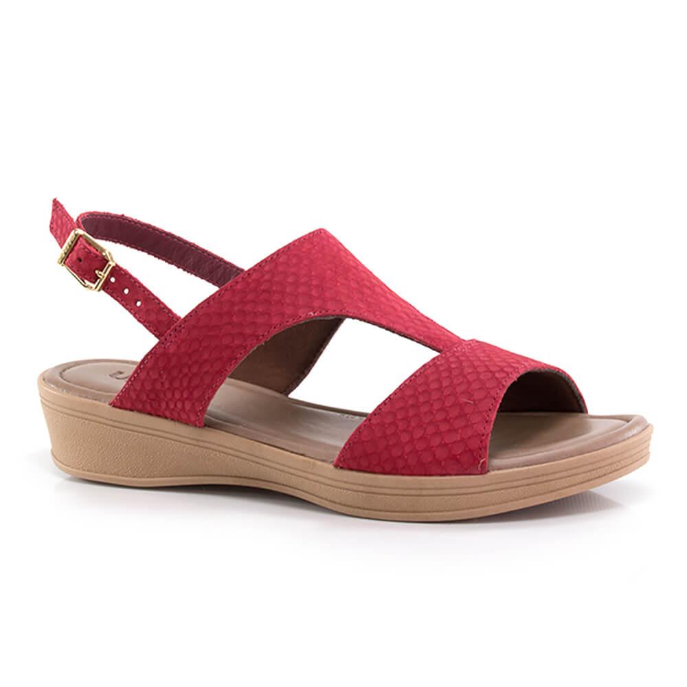 862be81775 Sandália Usaflex Salto Baixo em Couro - Vanda Calçados - Vanda Calçados