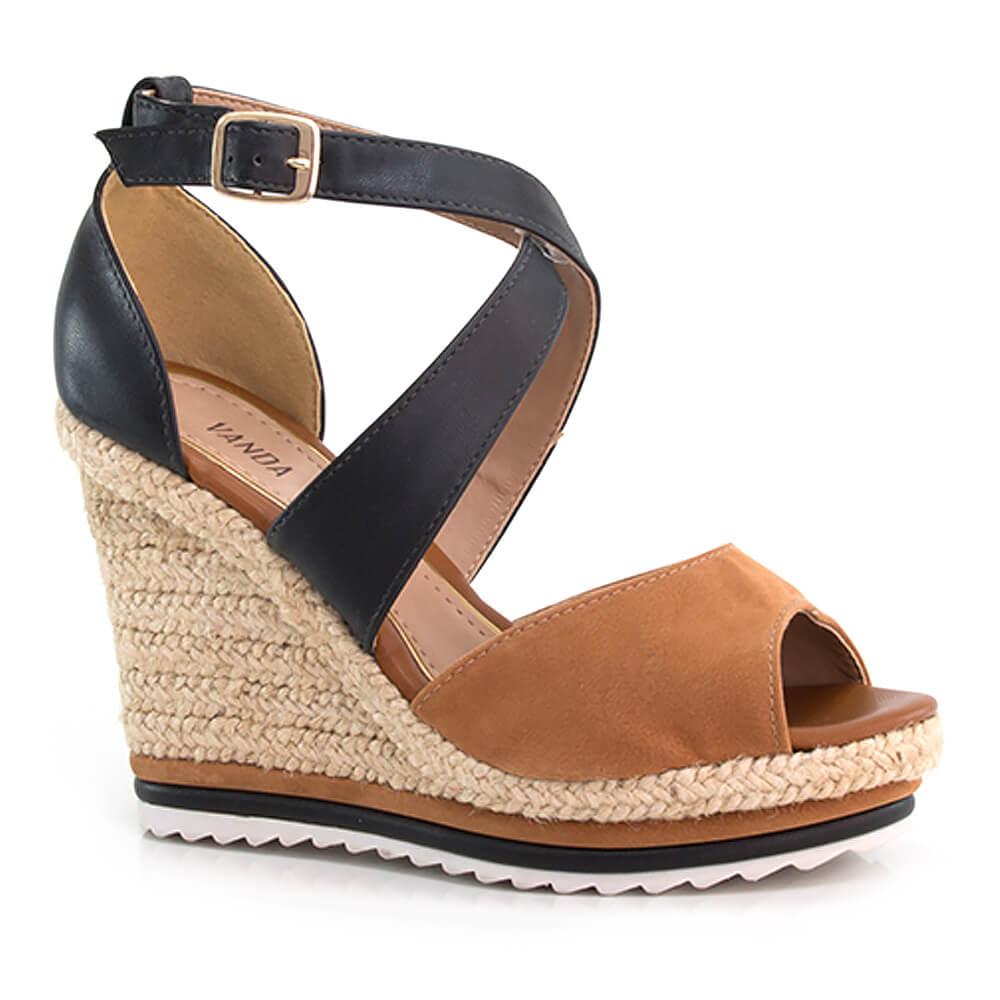3681b12b9 Sandália Anabela em Couro com Salto em Corda - Vanda Calçados - Vanda  Calçados