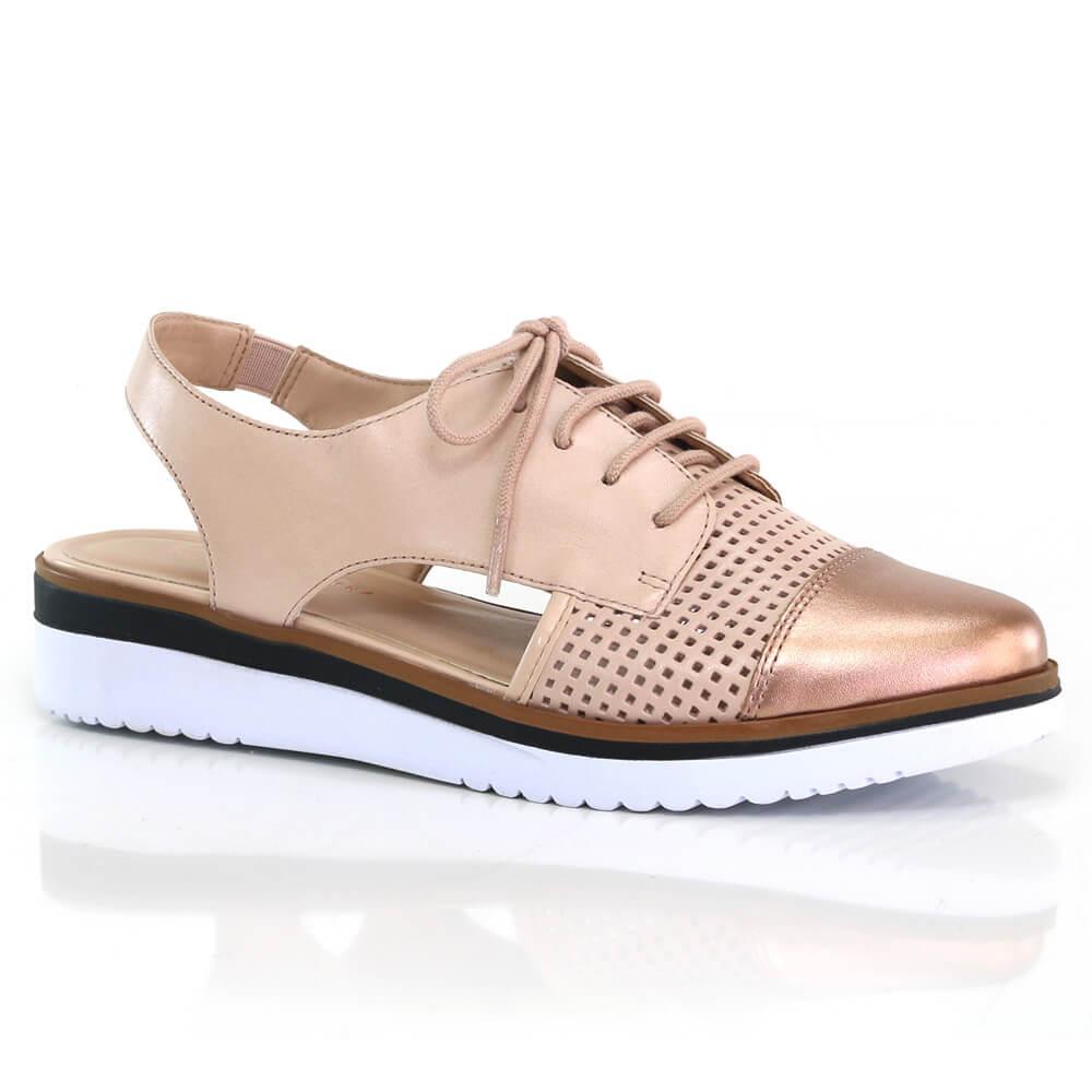 9eb18855c4 Sapato Oxford Giulia Domna em couro vazado - Vanda Calçados