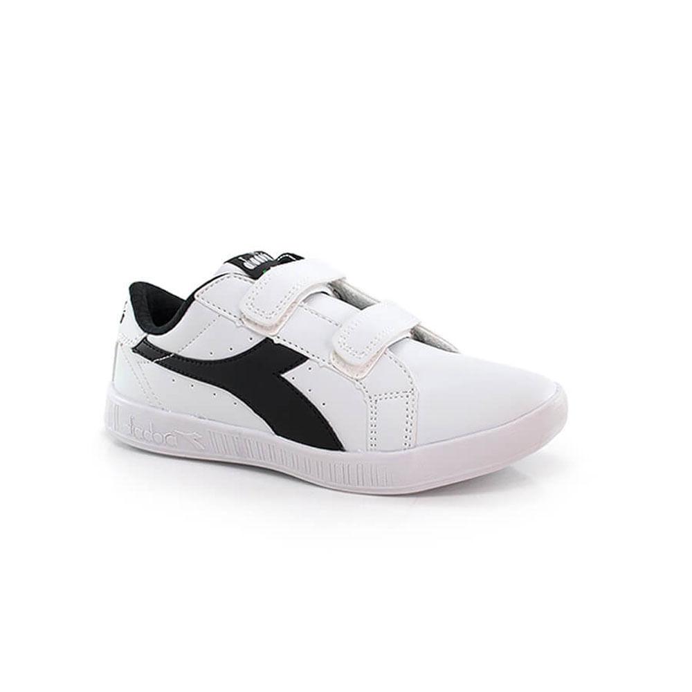 018030340-Tenis-Diadora-Game-II-Jr-Infantil-velcro-branco-preto