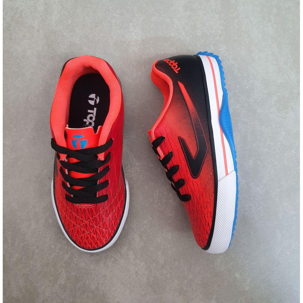 4203664-Chuteira-Topper-Futsal-Recreio-Infantil--coral-preto-laranja-preta--1-
